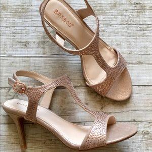 Bamboo Rose Gold T-Strap 7M Stiletto Heels